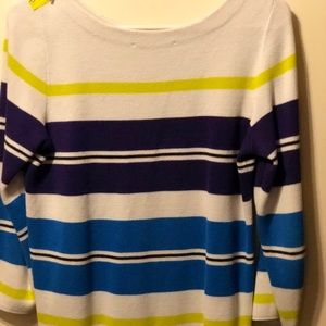 Loft White Purple Green Blue Stripe Light Sweater